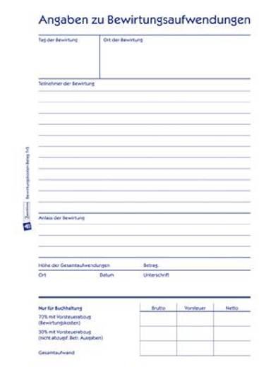 Zweckform Bewirtungskostenbeleg/745 DIN A5 hoch weiß Inh.50 Blatt