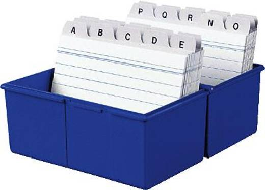 HAN Karteibox DIN A8 quer/978-14 blau Kunststoff Inh. 100 Karten + A-Z Register