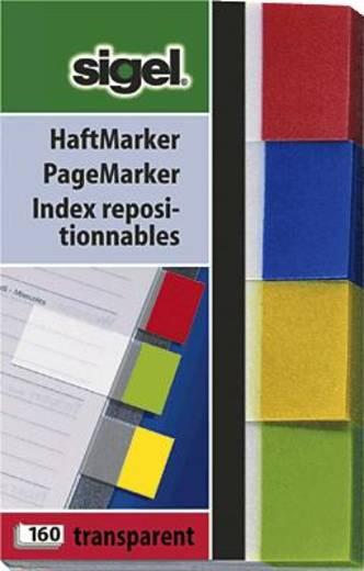 sigel Haftmarker Transparent/HN670 50x 80 mm grün/gelb/blau/rot Inh.160