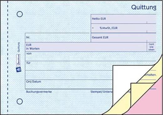 Zweckform Quittungen mit MwSt-Nachweis/1737 A6 blau/gelb/rosa Inh.3x40 Blatt