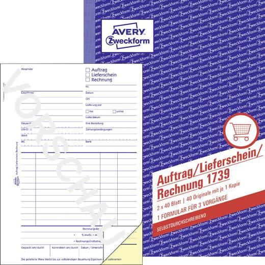 Avery Zweckform 1739 Auftrag/Lieferschein/Rechnung, A5, selbstdurchschreibend, 2x40 Blatt