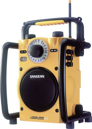 UKW Baustellenradio Sangean U1 AUX, MW, UKW spritzwassergeschützt, stoßfest, Taschenlampe Gelb, Schwarz