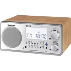 FM stolní rádio Sangean WR-2, AUX, SV, FM, vlašský ořech, stříbrná