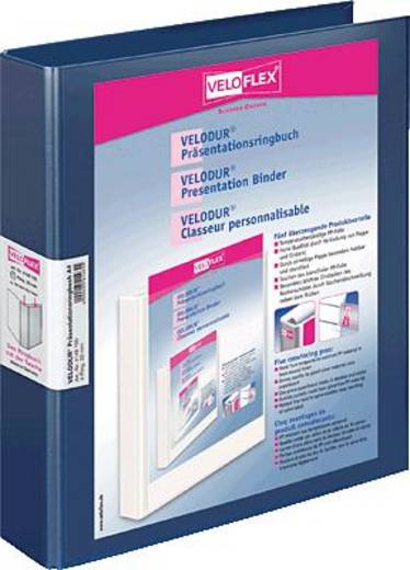 Veloflex Präsentationsringbücher VELODUR/4148150 DIN A4 blau 4-Ring Ø30 mm