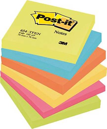 Post-it® Haftnotizen Rainbow-Packs/654TFEN 76 x 76 mm 6