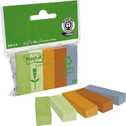 Post-it® Recycling Page Marker/670-5R 15 x 50 mm 375