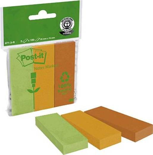 Post-it® Recycling Page Marker/671-3R 25 x 76 mm 225