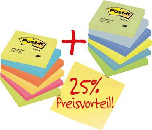 Post-it® Haftnotizen Rainbow-Promotionpack/654ENDRP 76 x 76 mm 12er Pack