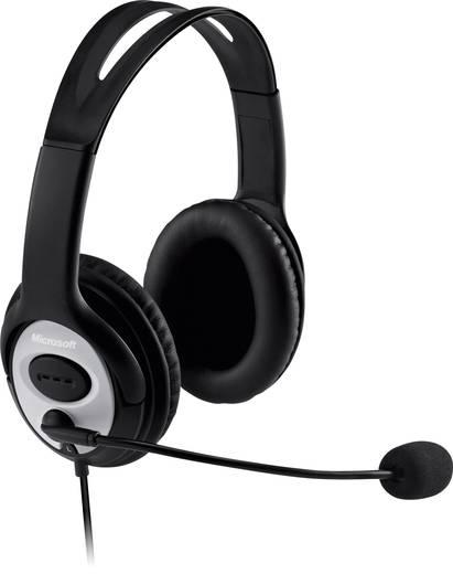 PC-Headset USB schnurgebunden, Stereo Microsoft LifeChat LX-3000 Over Ear Schwarz/Silber