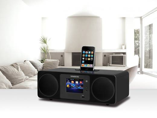 Internet Tischradio Sangean WFR-2D Apple-Dock, AUX, DAB+, Internetradio, USB Touchscreen, DLNA-fähig Schwarz