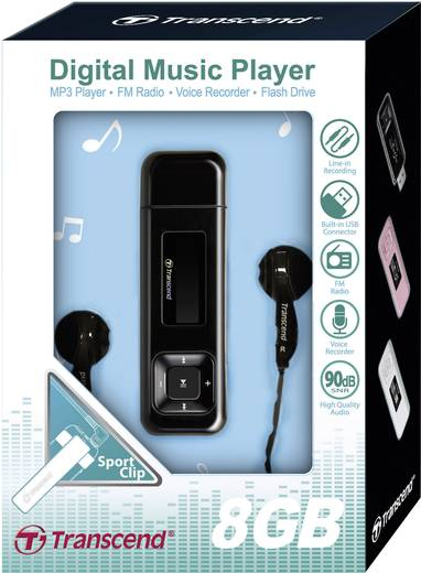 MP3-Player Transcend MP330 8 GB Schwarz FM Radio, Befestigungsclip