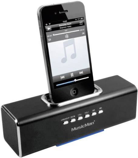 Docking Lautsprecher Technaxx MusicMan Docking Soundstation USB, AUX, Apple-Dock, SD Schwarz