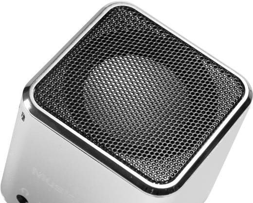Mini Lautsprecher Technaxx MusicMan AUX, SD, USB Silber