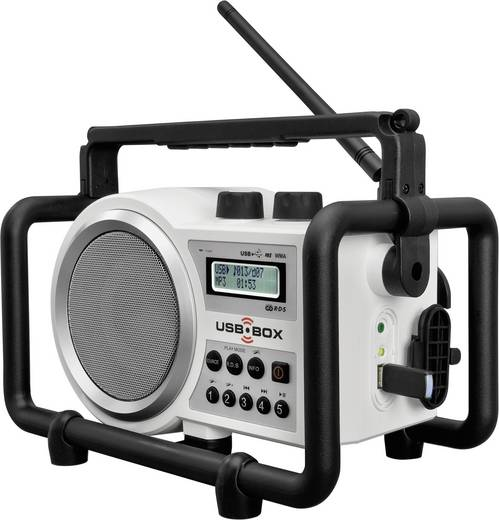 UKW Baustellenradio PerfectPro USB Box 2 AUX, SD, UKW, USB spritzwassergeschützt, staubdicht, stoßfest Weiß