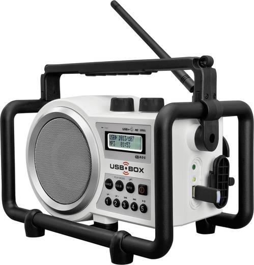 UKW Baustellenradio PerfectPro USB Box bouwplaatsradio AUX, SD, UKW, USB spritzwassergeschützt, staubdicht, stoßfest Wei