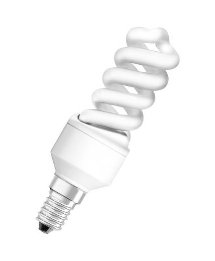 Energiesparlampe 105 mm OSRAM 230 V E14 9 W = 40 W Neutral-Weiß EEK: A Spiralform Inhalt 1 St.
