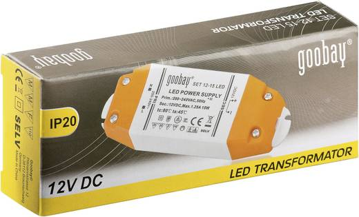 LED-Trafo Konstantspannung Goobay SET 12-15 LED 15 W 1.25 A 12 V/DC Möbelzulassung
