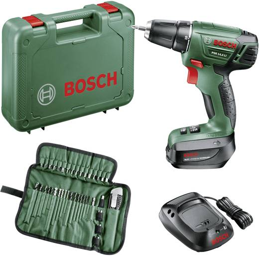 Bosch PSR 14,4 LI Akku-Bohrschrauber 14.4 V 1.5 Ah Li-Ion inkl. Akku, inkl. Zubehör, inkl. Koffer