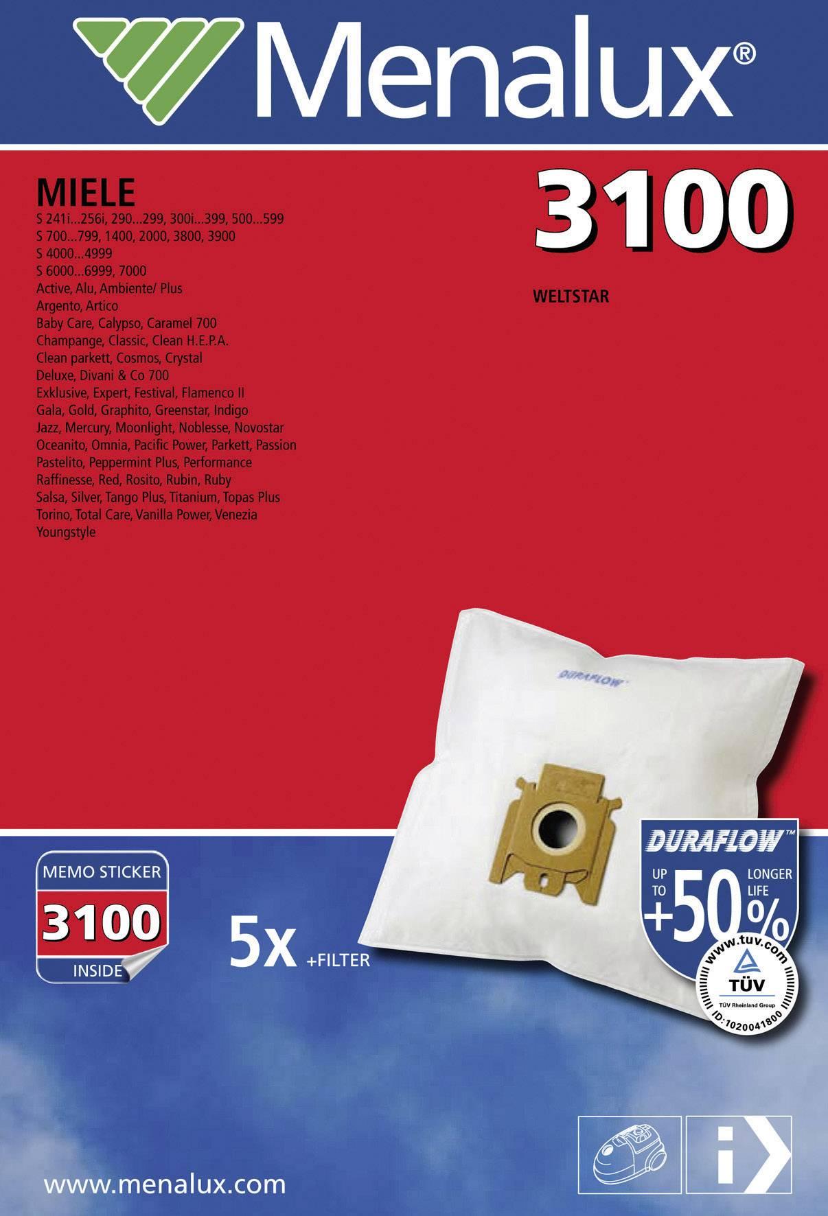 20 x Menalux 3100 Staubsaugerbeutel für  Miele