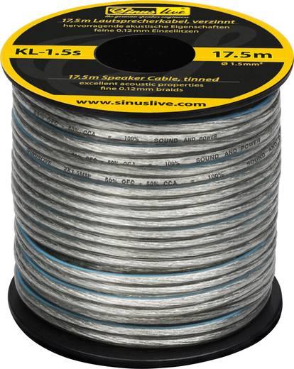 Lautsprecherkabel 1 x 1.50 mm² Silber Sinuslive KL-1,5S 17.5 m