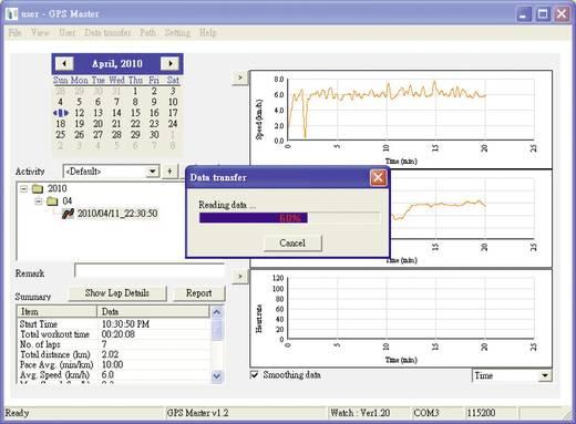 GPS-Pulsuhr mit Brustgurt Multi NAV-3 Codierte Übertragung Schwarz/Silber