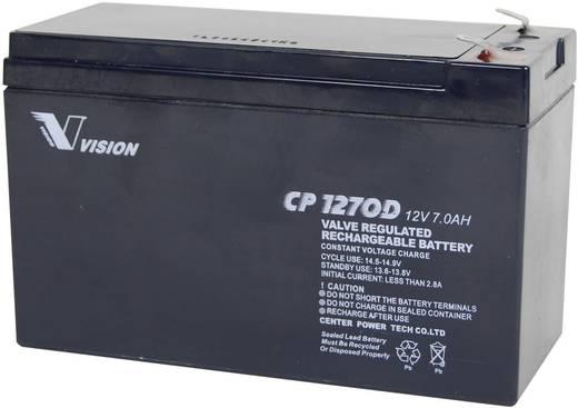Bleiakku 12 V 7 Ah Vision Akkus VISION CP1270D CP1270D Blei-Vlies (AGM) (B x H x T) 151 x 100 x 65 mm Flachstecker 4.8 mm Wartungsfrei, Zyklenfest
