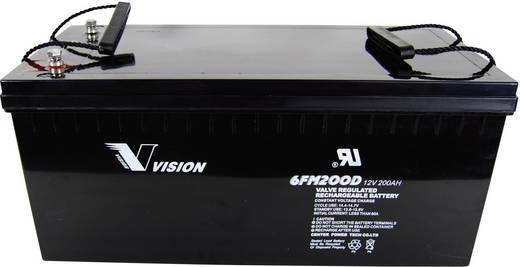 Bleiakku 12 V 200 Ah Vision Akkus VISION 6FM200LPX 6FM200PX Blei-Vlies (AGM) (B x H x T) 526 x 246 x 238 mm M8-Schrauban