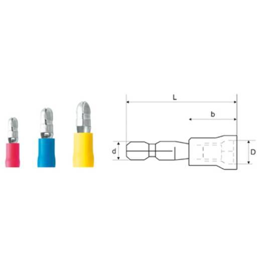 Rundstecker 1.5 mm² 2.50 mm² Stift-Ø: 5 mm Teilisoliert Blau Weidmüller 9200680000 100 St.