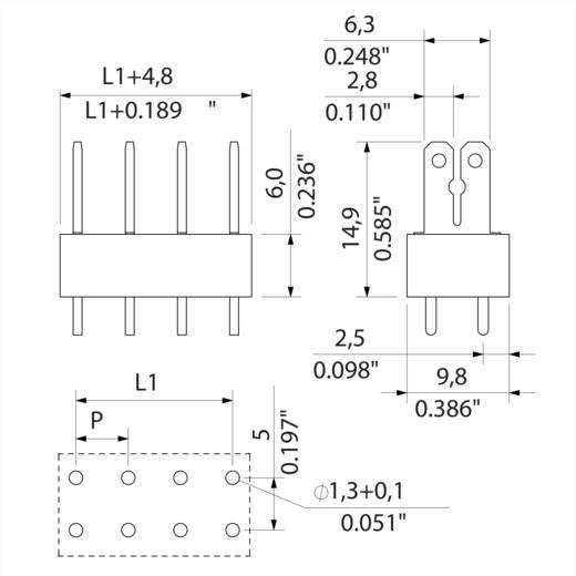 Flachsteckverteiler Steckbreite: 6.3 mm Steckdicke: 0.8 mm 180 ° Teilisoliert Orange, Silber Weidmüller 9500780000 100 St.