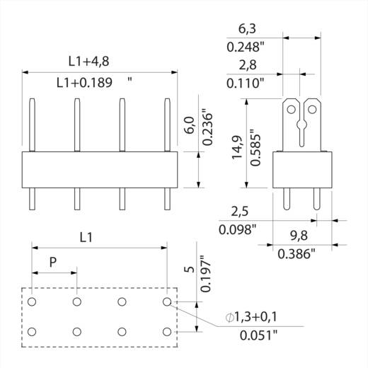Flachsteckverteiler Steckbreite: 6.3 mm Steckdicke: 0.8 mm 180 ° Teilisoliert Orange, Silber Weidmüller 9500540000 50 S