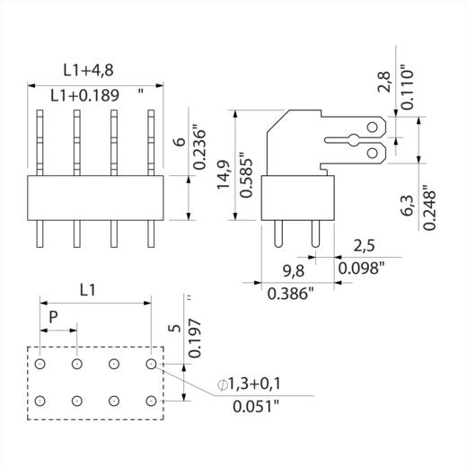 Flachsteckverteiler Steckbreite: 6.3 mm Steckdicke: 0.8 mm 90 ° Teilisoliert Orange, Silber Weidmüller 9511590000 100 S