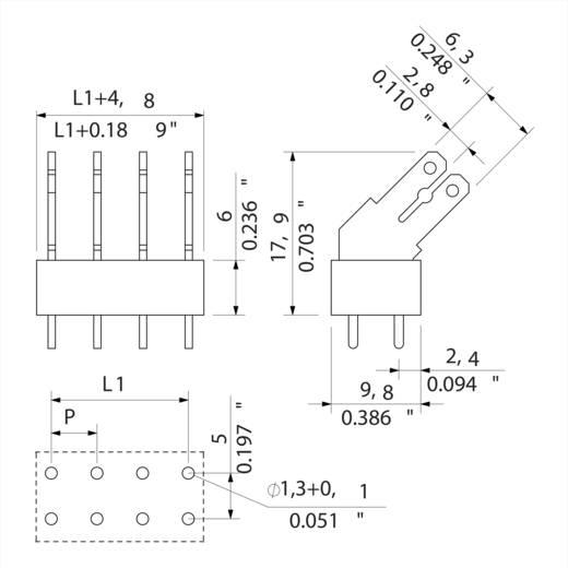 Flachsteckverteiler Steckbreite: 6.3 mm Steckdicke: 0.8 mm 135 ° Teilisoliert Orange, Silber Weidmüller 9512150000 50 St.