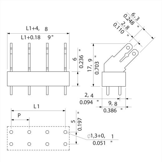 Flachsteckverteiler Steckbreite: 6.3 mm Steckdicke: 0.8 mm 135 ° Teilisoliert Orange, Silber Weidmüller 9512080000 18 S