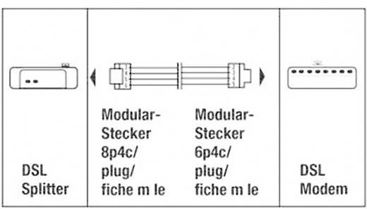 ISDN Anschlusskabel [1x RJ45-Stecker 8p4c - 1x RJ11-Stecker 6p4c] 6 m Schwarz Hama