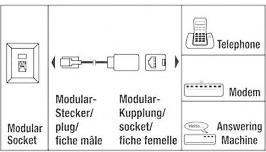 Telefon (analog) Verlängerungskabel [1x RJ12-Stecker - 1x RJ12-Buchse] 6 m Schwarz Hama