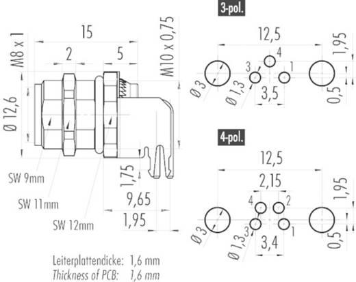 Flanschdose gewinkelt, Frontmontage, mit Schirmblech 09 3418 82 03 Binder Inhalt: 1 St.