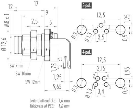 Sensor-/Aktor-Einbausteckverbinder M8 Stecker, gewinkelt Polzahl: 3 Binder 09 3419 82 03 1 St.
