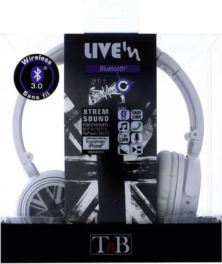 TNB Kopfhörer London Bluetooth Frequenzbereich 0.4 - 2.4 GHz Schall-Druck (dB) 40 dB Weiß