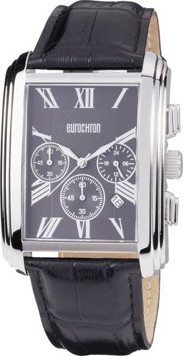Quarz, Chronograph Armbanduhr 596003 (L x B) 51 mm x 37 mm Edelstahl Gehäusematerial=Edelstahl Material (Armband)=Leder
