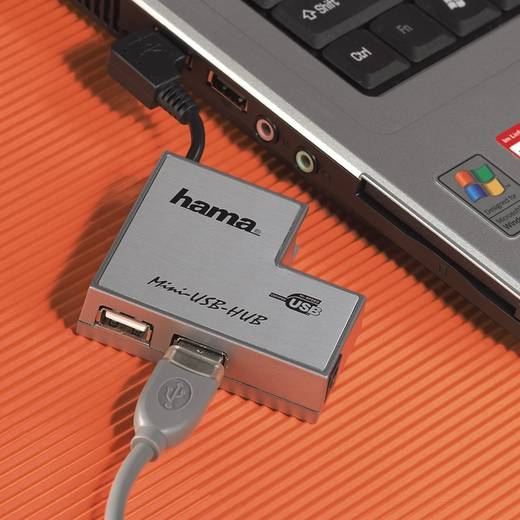 USB 2.0 Anschlusskabel [1x USB 2.0 Stecker A - 1x USB 2.0 Stecker B] 1.8 m Grau vergoldete Steckkontakte Hama