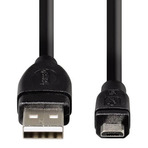 USB 2.0 Anschlusskabel [1x USB 2.0 Stecker A - 1x USB 2.0 Stecker Micro-B] 1.8 m Schwarz vergoldete Steckkontakte Hama