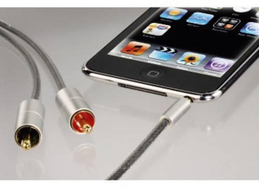 Klinke / Cinch Audio Anschlusskabel [1x Klinkenstecker 3.5 mm - 2x Cinch-Stecker] 1 m Silber vergoldete Steckkontakte Ha