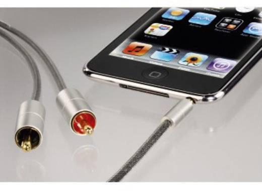 Hama Cinch / Klinke Audio Anschlusskabel [2x Cinch-Stecker - 1x Klinkenstecker 3.5 mm] 1 m Silber vergoldete Steckkontak