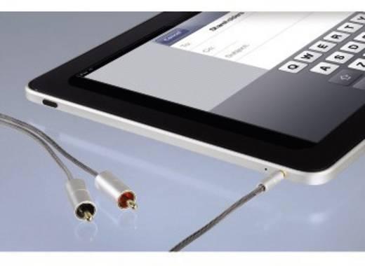 Cinch / Klinke Audio Anschlusskabel [2x Cinch-Stecker - 1x Klinkenstecker 3.5 mm] 1 m Silber vergoldete Steckkontakte Ha