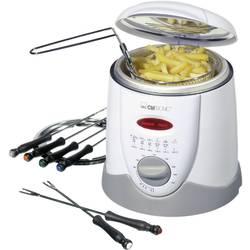 Fritovací hrnec/nádoba na přípravu fondue Clatronic FFR 2916 900W, manuálně nastavitelná teplota, bílá, šedá