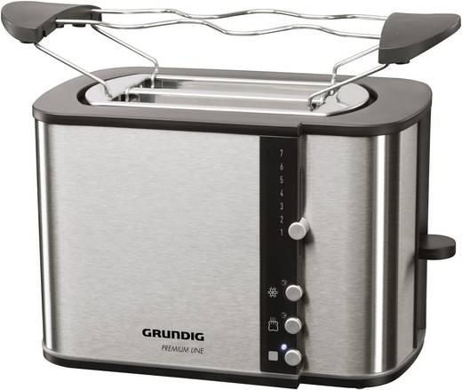 Toaster mit Brötchenaufsatz Grundig TA 5260 Black Line Edelstahl, Schwarz