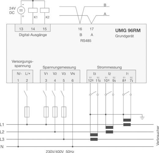 Janitza UMG96RM Universalmessgerät UMG96RM, RS485 Modbus Messbereich: L-N: 10 - 300 V/AC; L-L: 18 - 520 V/AC; Strom 0 -