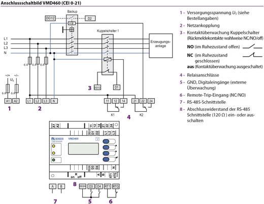 Bender LINETRAXX® VMD460 NA-Schutz VMD460 Überwachter Spannungsbereich 0 - 520 V Frequenzbereich 40 - 70 Hz
