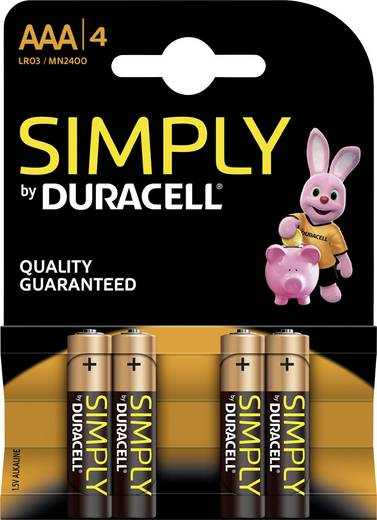 Micro (AAA)-Batterie Alkali-Mangan Duracell Simply LR03 1.5 V 4 St.
