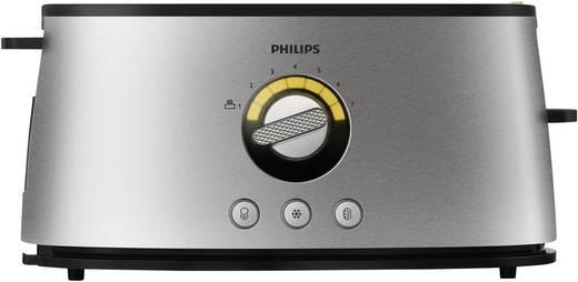 Langschlitztoaster mit eingebautem Brötchenaufsatz, mit Bagel-Funktion Philips HD2698/00 Edelstahl, Schwarz
